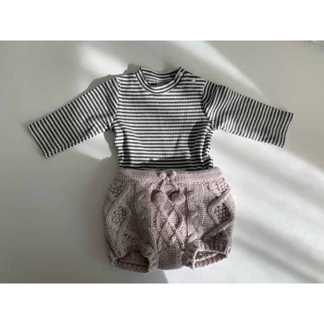 petit main(プティマイン)のプティマイン ボーダー ニットブルマ キッズ/ベビー/マタニティのベビー服(~85cm)(ロンパース)の商品写真