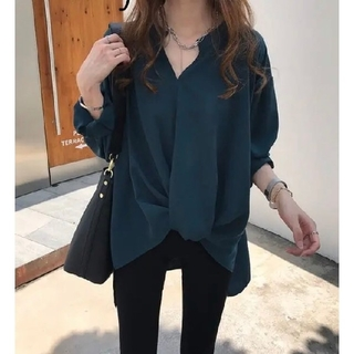 ZARA - 韓国ファッション ノーカラーブラウス キレイ目シャツ オフィスカジュアル 緑