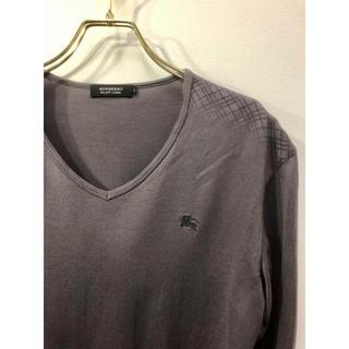 バーバリーブラックレーベル(BURBERRY BLACK LABEL)の美品 バーバリーブラックレーベル ホースマーク刺繍 シャドーチェック カットソー(Tシャツ/カットソー(七分/長袖))