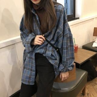 dholic - 韓国ファッション チェックシャツ ウールシャツ オーバーサイズ ブルー
