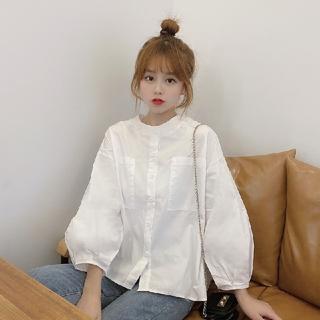 dholic - 韓国ファッション パフスリーブシャツ ホワイトシャツ フリルシャツ