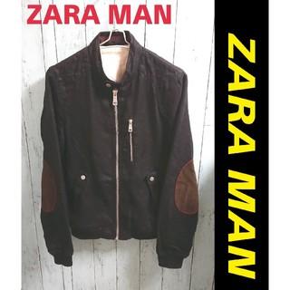 ZARA - ZARA MAN ザラ シングル 黒 ライダース ジャケット 肘当て付 ブルゾン