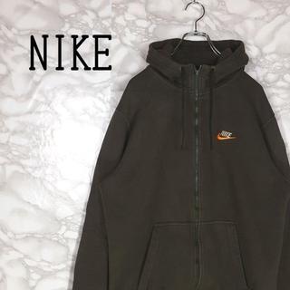 NIKE - 90s NIKE パーカー フルジップ 刺繍 スウォッシュ オレンジ ゆるだぼ