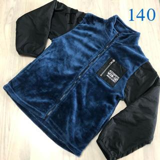 ネイビー×黒 あったかボアパーカー 140(ジャケット/上着)