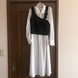 しまむら - しまむら シースルーロングシャツ&重ね着アシメキャミソールセット