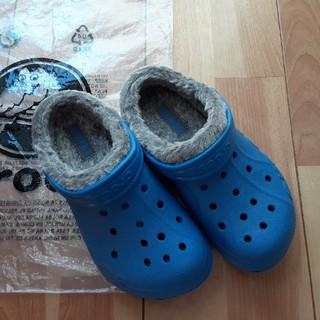 【未使用】crocs ボア付き ブルー
