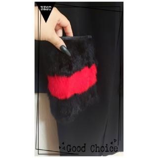 グレースコンチネンタル(GRACE CONTINENTAL)の⑅⃝♡オシャレ今時ニットポケット付き【赤黒ロングカーデガン】BLACK*°♡(ロングコート)