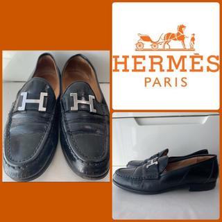 Hermes - エルメス コンスタンス ブラックレザー ローファー