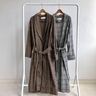 トゥデイフル(TODAYFUL)の美品 TODAYFUL Brushed Check Gown ロング コート(ガウンコート)