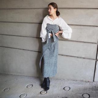 rienda - フロントボタンツイードフレアスカート【試着のみ】