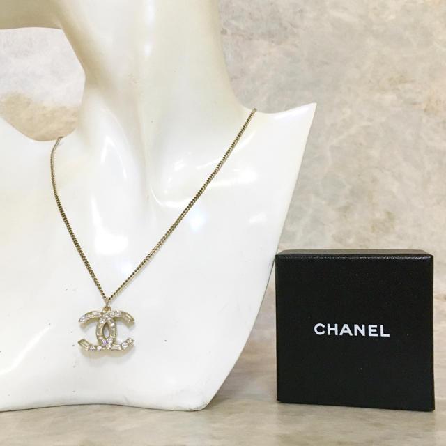 CHANEL(シャネル)の正規品 シャネル ネックレス ココマーク ラインストーン ラメ ゴールド 金  レディースのアクセサリー(ネックレス)の商品写真