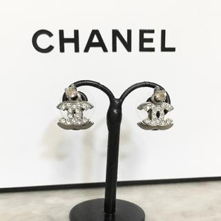 CHANEL - 正規品 シャネル ピアス ダブル ココマーク ラインストーン シルバー 銀 石