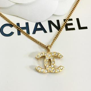 CHANEL - 正規品 シャネル ネックレス ゴールド ココマーク ラインストーン 両面 ロゴ
