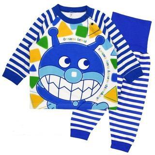 アンパンマン - 新品 100cm アンパンマン ばいきんまん腹巻付き長袖パジャマ ブルー
