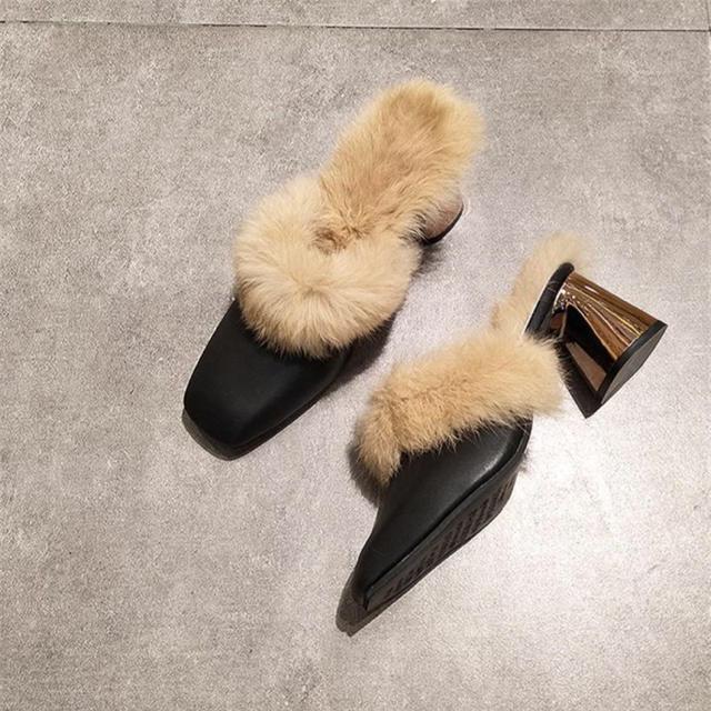 【新品】ファー チャンキー ヒール ミュール 22.5〜24.5 黒/ベージュ レディースの靴/シューズ(ハイヒール/パンプス)の商品写真