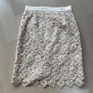 レッセパッセ(LAISSE PASSE)のレッセパッセ フラワーレーススカート(ひざ丈スカート)