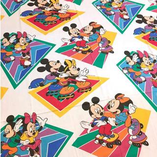 ディズニー(Disney)のミッキー  ミニー ツインフラットシーツ ローラースケート ビンテージ(シーツ/カバー)