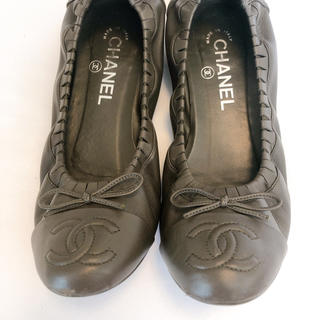 CHANEL - 美品本物★シャネルCHANELバレエフラットシューズ 靴37.5 23.5〜24