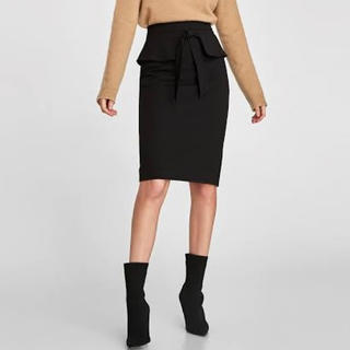 ZARA - ZARA ザラ タイト スカート ペプラム リボン ブラック 黒 ペンシル