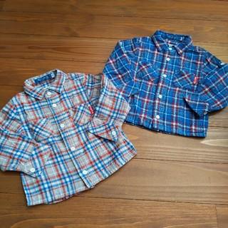 ベベ(BeBe)のシャツ ネルシャツ チェック べべ 90 2枚組(ブラウス)