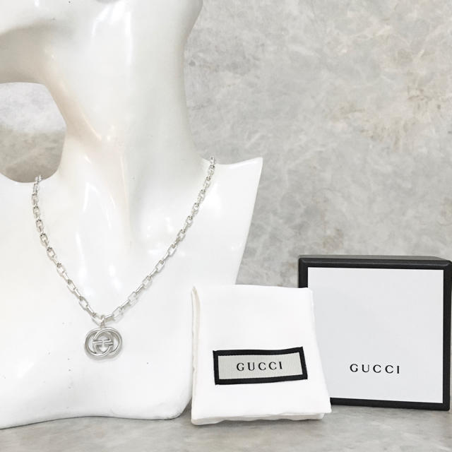 Gucci(グッチ)の正規品 グッチ ネックレス シルバー SV925 GG インターロッキング 6 メンズのアクセサリー(ネックレス)の商品写真