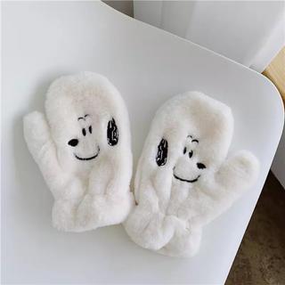 スヌーピー(SNOOPY)の韓国スヌーピーもこもこ手袋(手袋)