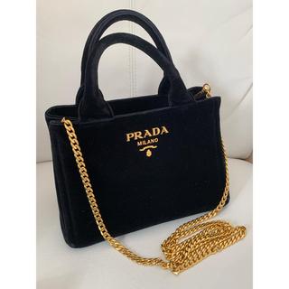 PRADA - PRADAプラダ☆ベロア素材のミニトートバッグ☆ななめ掛けOK☆黒×ゴールド