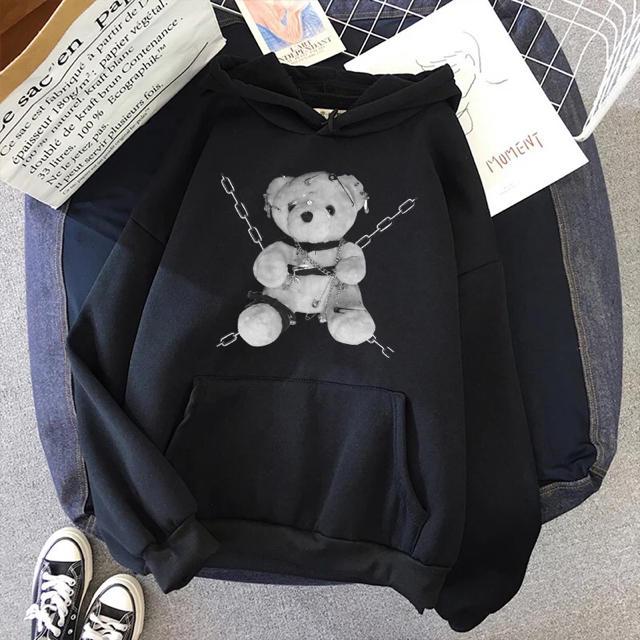 FUNKY FRUIT(ファンキーフルーツ)のクマ 病みくまちゃんパーカー 病みかわいい ブラック  レディースのトップス(パーカー)の商品写真