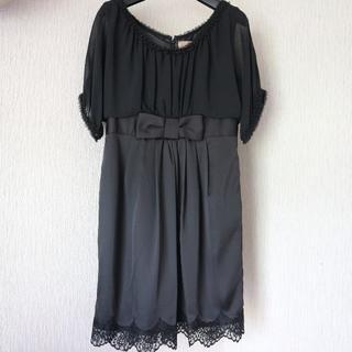 ナノユニバース(nano・universe)の美品ナノユニバース/パフスリーブ異素材ドレス M/結婚式/パーティ/黒色(ミディアムドレス)