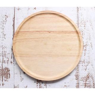 新品◆木製 ラウンド トレー カフェ ナチュラル 【送料無料】(テーブル用品)