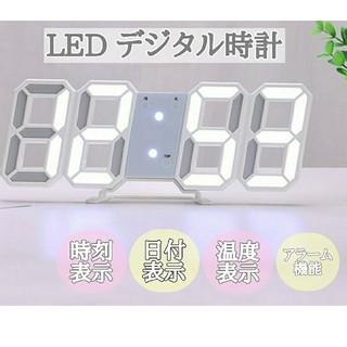 LED デジタル時計 置き時計 壁掛け 卓上 韓国 白 3D 目覚まし アラーム