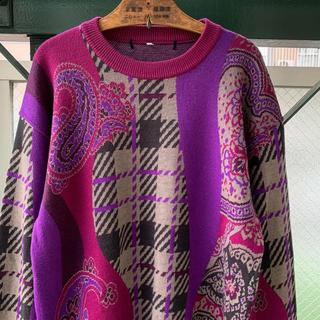アートヴィンテージ(ART VINTAGE)の90s 総柄ニット セーター ペイズリー柄 肉厚ウール クレイジーパターン 古着(ニット/セーター)