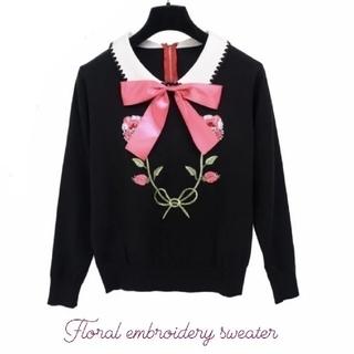 Gucci - リボン フラワー 刺繍 襟 セーター ニット ♡ MiuMiu Gucci