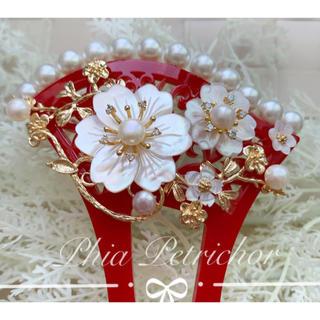 かんざし 白蝶貝 W2010261バチ型 結婚式 パール 簪 留袖 着物 成人式(ヘアアクセサリー)