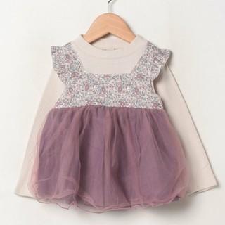petit main - プティマイン 花柄チュールドッキングTシャツ 110