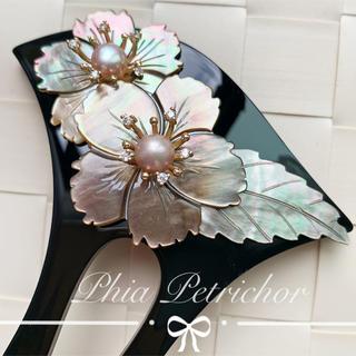 髪飾り 黑蝶貝 かんざしB2010296バチ型 結婚式 簪 留袖 着物 成人式(ヘアアクセサリー)