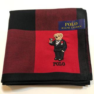 ラルフローレン(Ralph Lauren)のラルフローレン ハンカチ ポロベア 赤チェック 刺繍(ハンカチ)