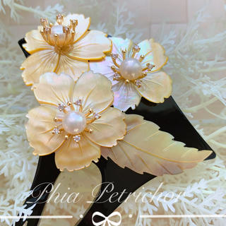 黄蝶貝 かんざし バチ型 Y2010262パール 簪 留袖 着物 卒業式 成人式(ヘアアクセサリー)