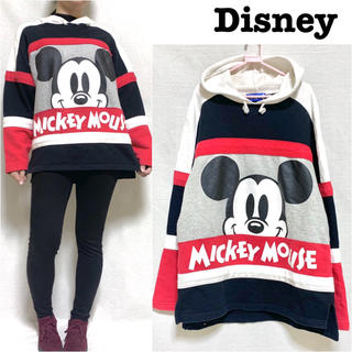 ディズニー(Disney)のディズニー ミッキーマウス フード付き パーカー 90年代 トレーナー(スウェット)