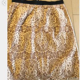 ビームス(BEAMS)のビームスハート レース柄オレンジベージュひざ丈スカート(ひざ丈スカート)