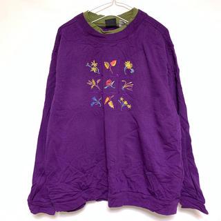 スウェット トレーナー 二重襟 裏起毛 刺繍 花 植物 紫 黄緑(トレーナー/スウェット)
