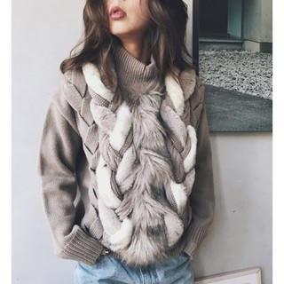 Ameri VINTAGE - FUR BRAID CABLE KNIT ameri vintage