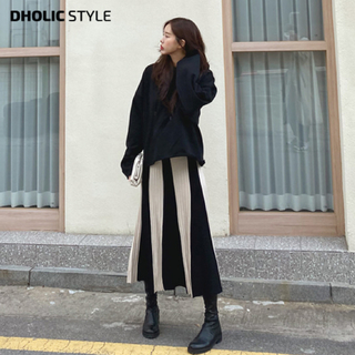 dholic - dholic ロング配色ニットスカート