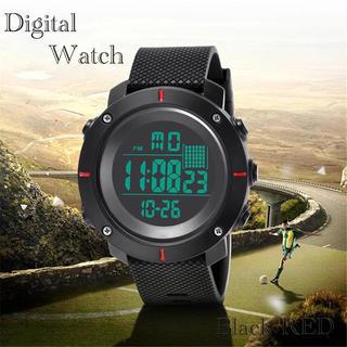 スポーツ腕時計 LED デジタル腕時計 ミリタリー スポーツウォッチ レッド(腕時計(デジタル))