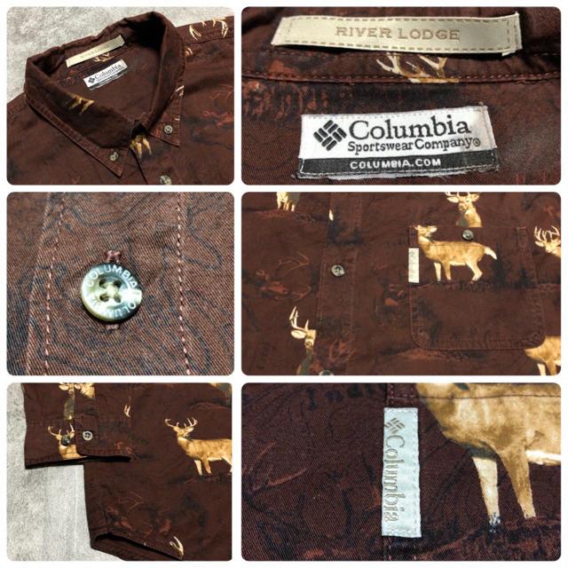 Columbia(コロンビア)のコロンビア☆アニマル柄シカ柄総柄ロゴタグ入りハンティングシャツ 90s メンズのトップス(シャツ)の商品写真