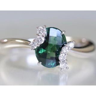 Pt900 トルマリン 1.80ct ダイヤモンド 0.14ct リング 18号(リング(指輪))