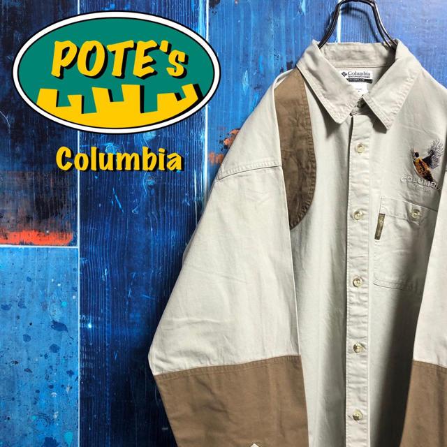 Columbia(コロンビア)の【コロンビア】キジ柄刺繍・ロゴタグ入りチノ切替ハンティングシャツ 90s メンズのトップス(シャツ)の商品写真