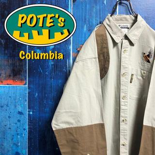 Columbia - 【コロンビア】キジ柄刺繍・ロゴタグ入りチノ切替ハンティングシャツ 90s