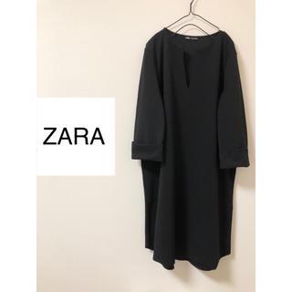 ZARA - ザラ☆スキッパーワンピース ブラック 膝丈