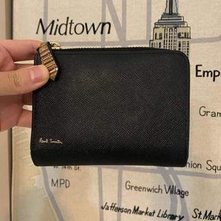 ポールスミス(Paul Smith)のポールスミス マルチストライプ ジップストローグレイン 2つ折り財布 ブラック(折り財布)